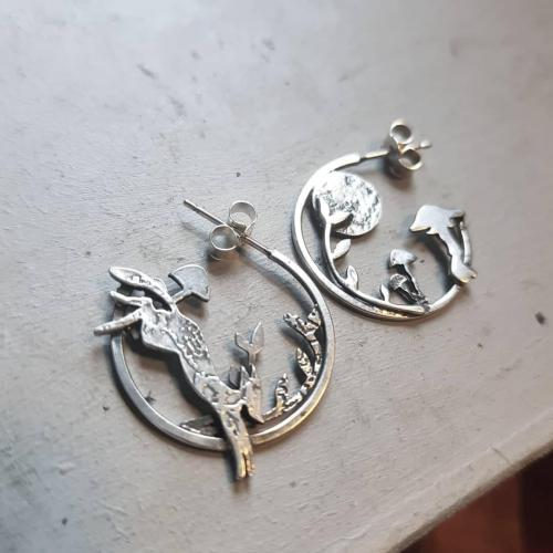 Earrings commission; One of a kind - Etched Silver.